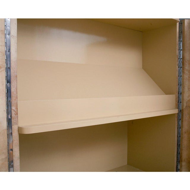 Mid-Century Modern Rare Karl Springer Goatskin, Stainless Four-Door Tall Cabinet For Sale - Image 3 of 11