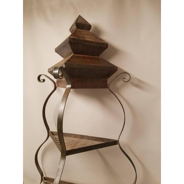 Asian Impressive and Chic Hand Wrought Iron & Steel Pagoda Top 7 Ft. Plant Stand Etegere For Sale - Image 3 of 4