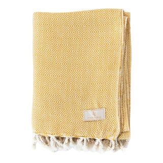 Stick & Ball Handwoven Cotton Towel in Yellow For Sale