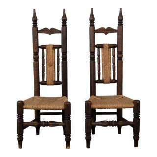 A Pair of Handmade High Back African Fireside Chairs , Gio Ponti Style . For Sale