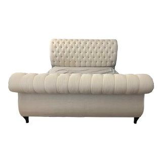 Hollywood Regency King Size Tufted Upholstered Sleigh Bedframe For Sale