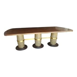 Hollywood Regency Henredon Jeffrey Bilhuber Colonnade Row Triple Pedestal Mahogany Dining Table For Sale