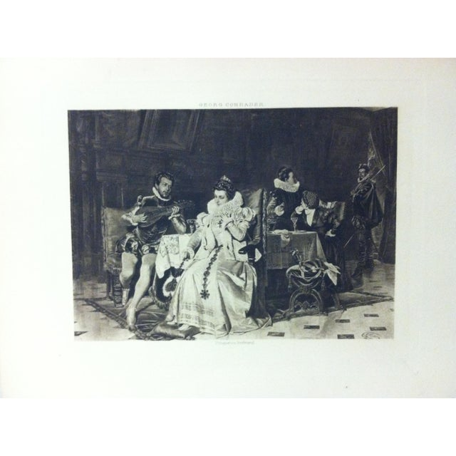 "This is an antique photogravure on paper that is titled ""Mary Stuart and Rizzio"" by Georg Conrader. The photogravure dates..."