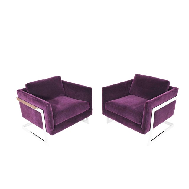 Milo Baughman T-Back Cube Chairs in Maharam Mohair - a Pair For Sale