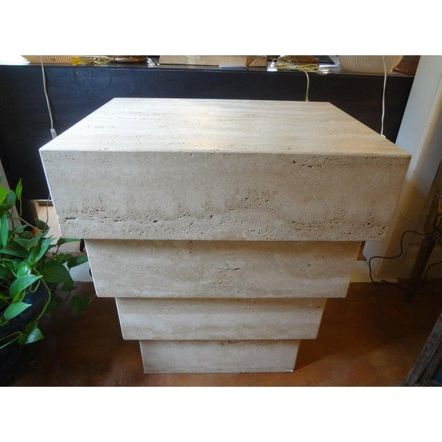 Italian Stepped Travertine Pedestal or Table Base For Sale - Image 9 of 10