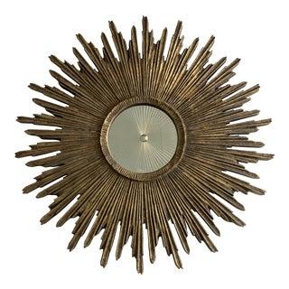 Vintage Sunburst Frame Wall Mirror For Sale