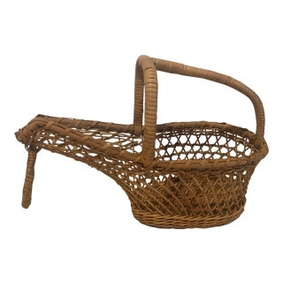 Vintage French Wicker Rattan Bentwood Wine Pouring Basket For Sale