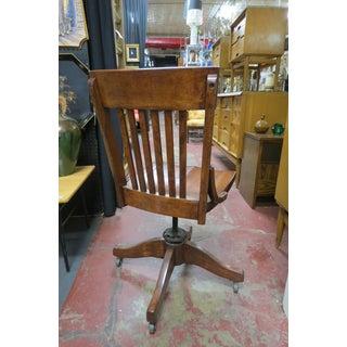 1910s Antique Walnut Swivel Desk Chair Preview