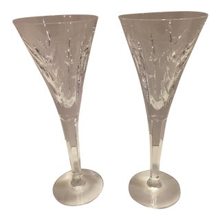 """Waterford """"Lismore"""" Crystal Toasting Flutes, Ireland - a Pair For Sale"""