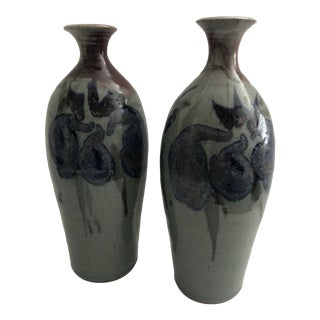 Signed Studio Pottery Vases - a Pair For Sale