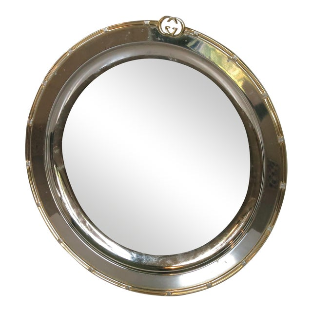 Vintage Gucci Round Silver Plate Tray For Sale