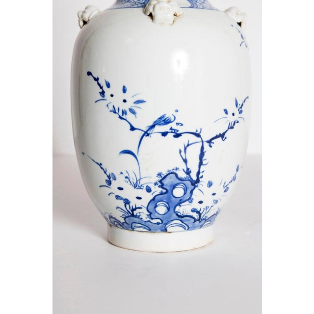 19th Century Chinese Blue and White Qing Period Vase With Foo Dog Heads For Sale In Dallas - Image 6 of 13