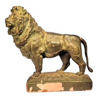 Vintage Shabby Chic Chippy Bronzed Lion Figurine Statue For Sale