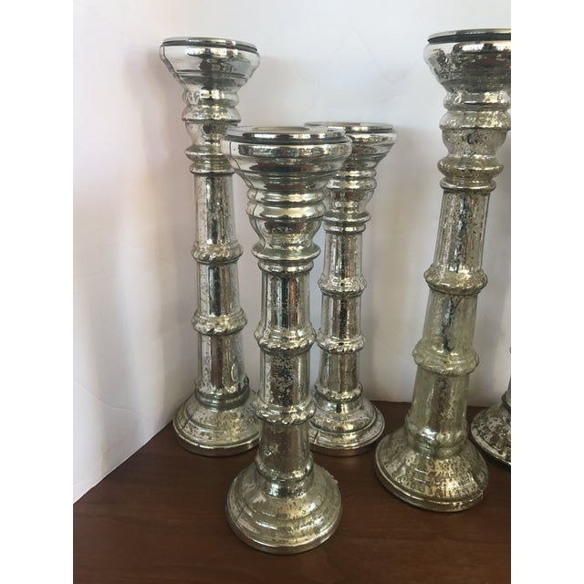 Mid-Century Modern Mercury Glass Candleholders Candlesticks - Set of 7 For Sale - Image 3 of 7