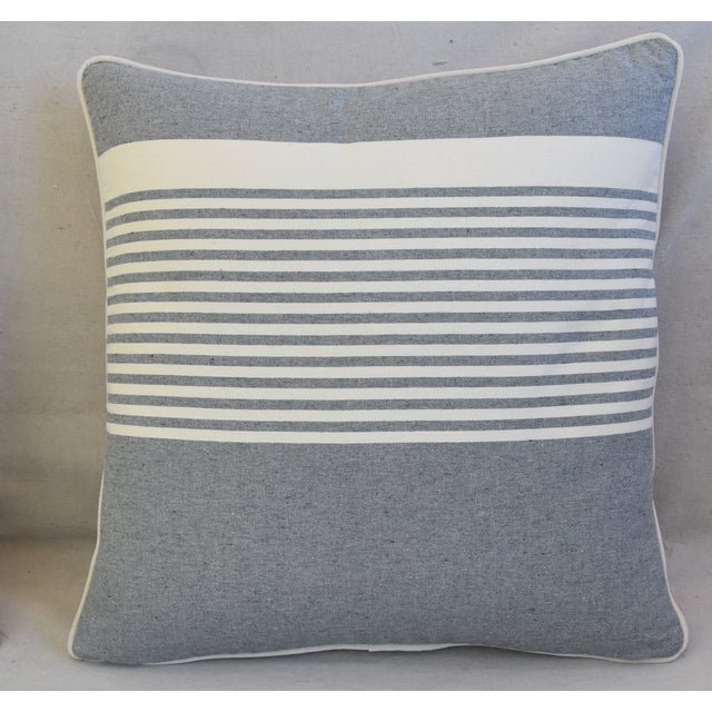 """French Gray & White Nautical Striped Feather/Down Pillows 22"""" Square - Pair For Sale - Image 4 of 12"""