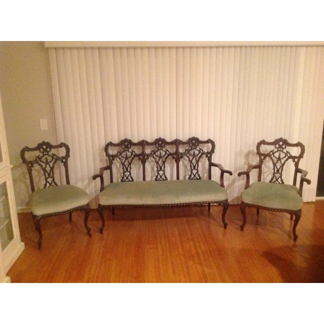 Chippendale Settee and King and Queen Chairs - Set of 3 - Image 9 of 11