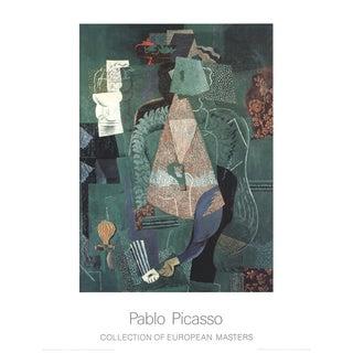 """Pablo Picasso Portrait De Jeune Fille 35.5"""" X 27.5"""" Poster 1995 Cubism Green For Sale"""