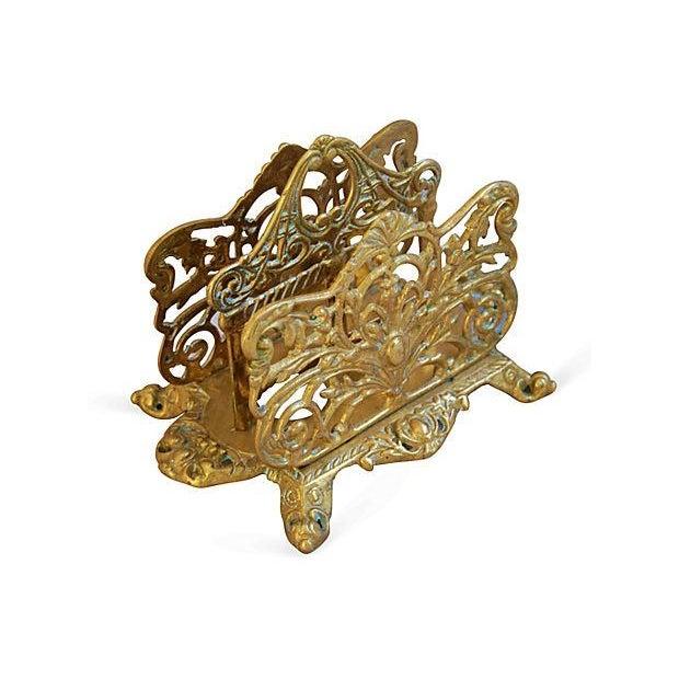 1950s Ornate Brass Letter & Note Desk Organizer - Image 6 of 6