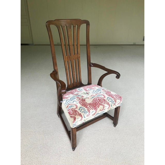 Wood Vintage Walnut Arm Chair With Clarence House Tibet Tiger Upholstery For Sale - Image 7 of 7