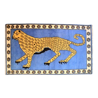 1980s Vintage Turkish Leopard Hunting Design Rug- 3′ × 5′ For Sale