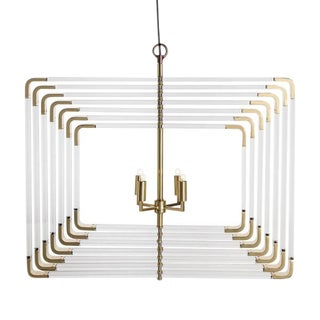 Modern 7 Layer Spiral Acrylic and Brass Chandelier For Sale