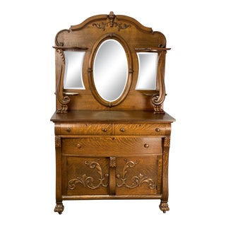 Antique American Victorian Carved Tiger Oak Server & Mirrored Hutch For Sale