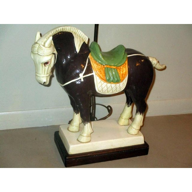 "Beautiful vintage Chinese Tang style hand painted ceramic horse lamp on thick base. The horse itself measures 16"" wide x..."