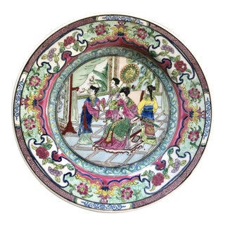 Famillie Rose Hand-Painted Plate For Sale