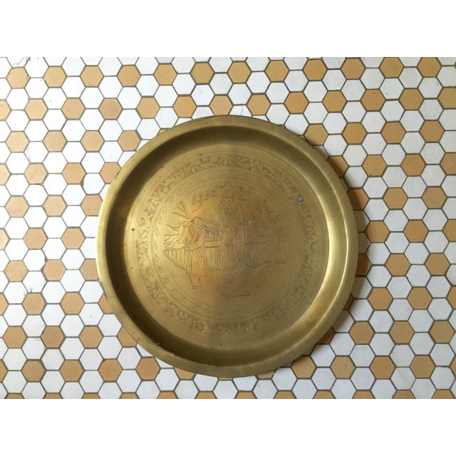 Mid-Century Oriental Brass Etched Tray - Image 3 of 6