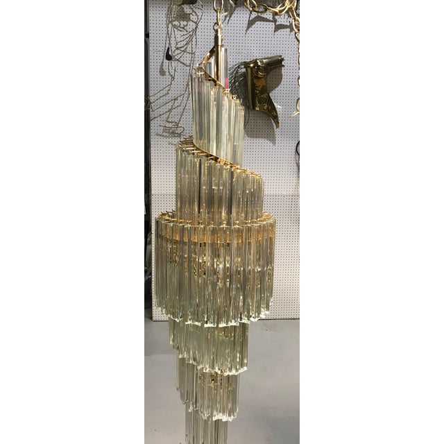 1960s Italian Mid-Century Modern Spiral Glass Chandelier For Sale - Image 5 of 11