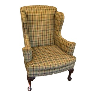 Pearson Custom Upholstered Clawfoot Wingback Chair For Sale