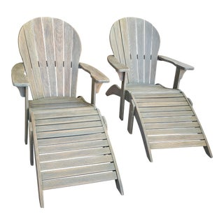 1950's Vintage Adirondack Chairs and Foot Stools - a Pair For Sale