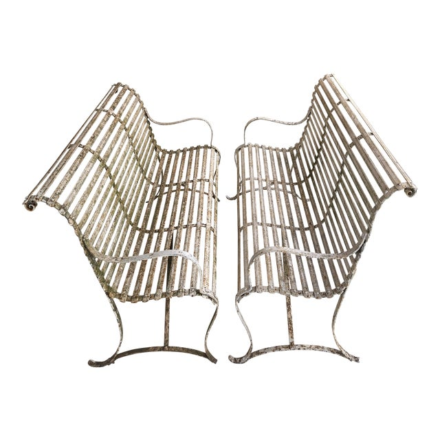 French 1920's White Garden Benches - a Pair For Sale