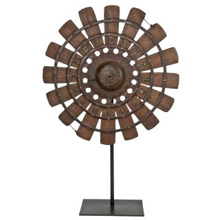 Rustic Wood Loom Wheel on Recycled Iron Stand For Sale