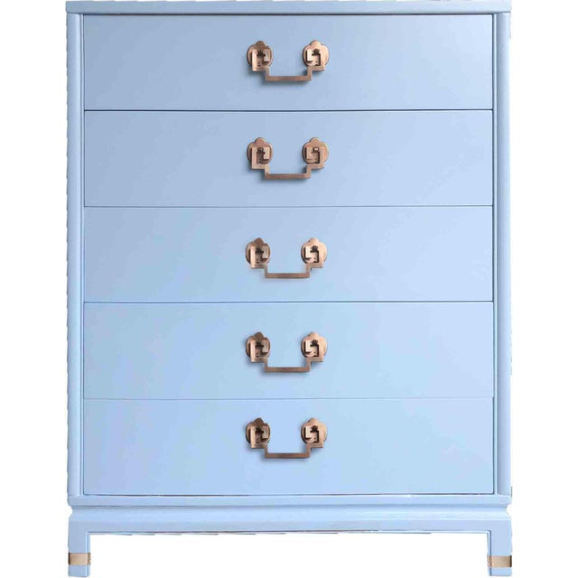 1950s Chinoiserie Landstrom Chest With Copper Hardware in Blue For Sale - Image 9 of 10