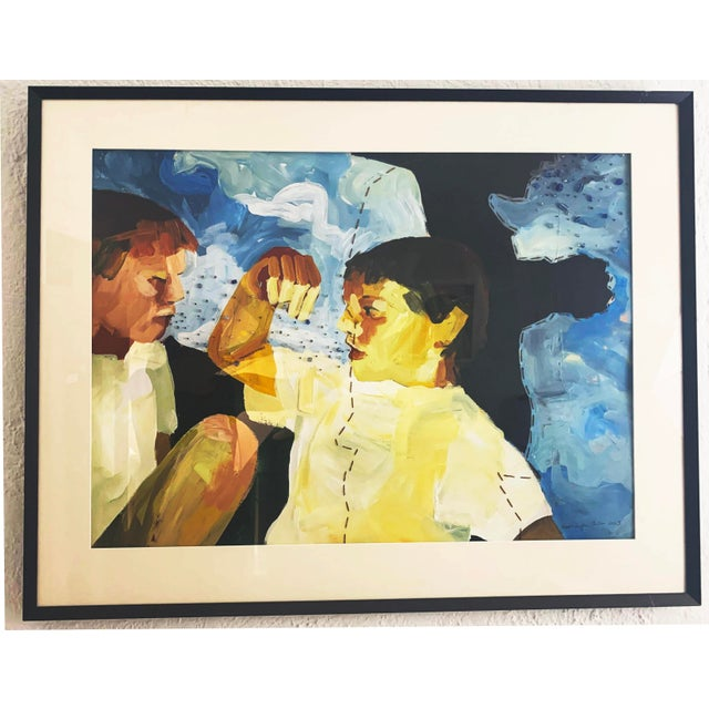 2000 - 2009 Susan Durfee Thulin 'Growing Boys' Large Framed Painting For Sale - Image 5 of 13