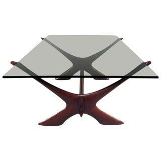 "Vintage Danish Teak ""X"" Base Coffee Table by Illum Wikkelsø For Sale"