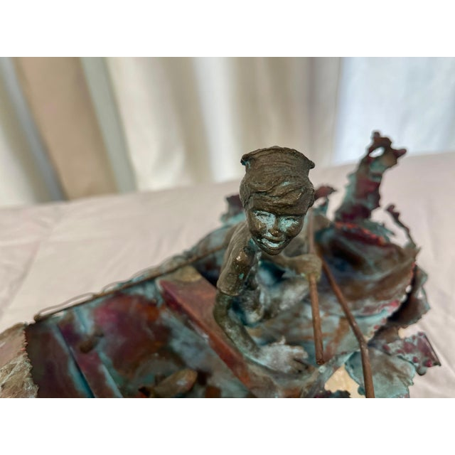"""Metal 1970s Boy in Boat Metal Sculpture Marked """"C Jere"""" For Sale - Image 7 of 12"""