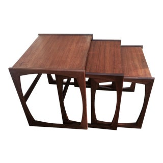 G Plan Style Mid-Century Nesting Tables - Set of 3