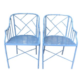 1970s Vintage Cast Aluminum Chinese Chippendale Faux Bamboo Barrel Chairs- A Pair For Sale