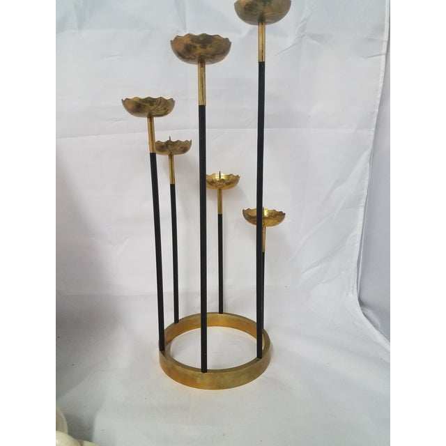 Black Mid-Century Brass Candle Stick Holder For Sale - Image 8 of 11