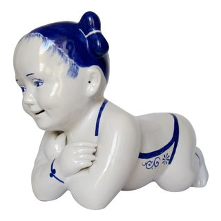 Vintage Chinese Hand Painted Blue & White Porcelain Female Opium Pillow Head Rest For Sale