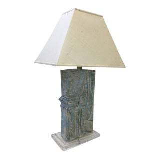 Brutalist Acrylic and Plaster Table Lamp by Casual Lamps For Sale
