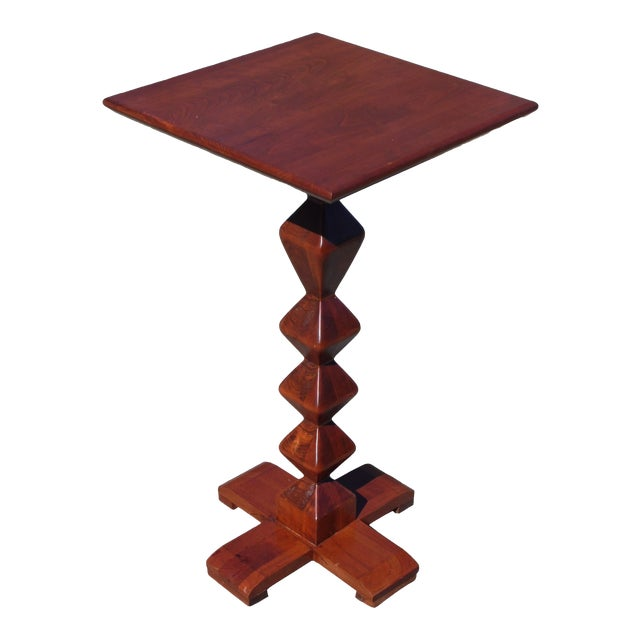 Vintage Ethan Allen American Solid Cherry Square Pedestal End Table Plant Stand For Sale