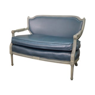 Hollywood Regency Louis XVI Painted Frame Settee For Sale