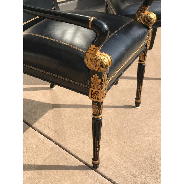 French Empire Leather Chairs - a Pair - Image 6 of 7