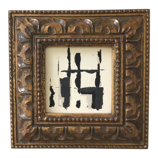 Small Abstract Painting Gold Frame For Sale