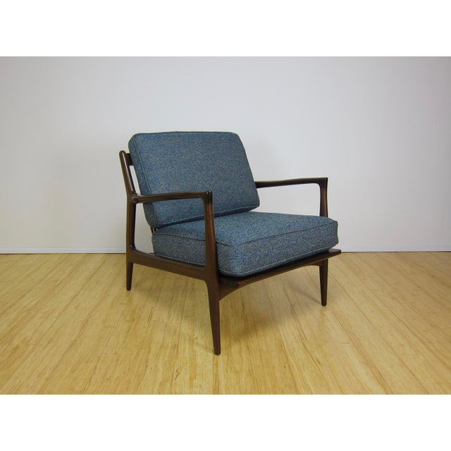 1960s Mid-Century Modern Ib Kofod Larsen for Selig Walnut Lounge Chair For Sale - Image 11 of 11