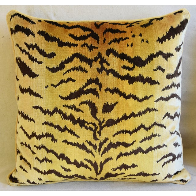 """Scalamandre Scalamandre Le Tigre Tiger Silk Velvet Feather/Down Pillows 23"""" Square - Pair For Sale - Image 4 of 10"""