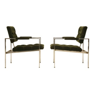 1970s Milo Baughman Chrome and Mohair Armchairs - a pair For Sale